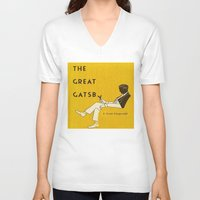 great gatsby V-neck T-shirts featuring The Great Gatsby by MW. [by Mathius Wilder]