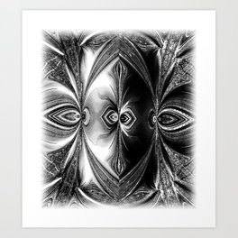 Abstract.White+Black Peacock. Art Print