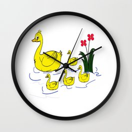 Happy Ducky Family Wall Clock