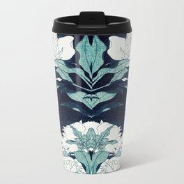 JAPANESE FLOWERS Midnight Blue Teal Travel Mug