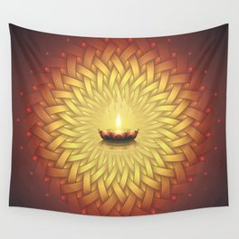 Сontemplation. Sacred geometry mandala, candle and lotus Wall Tapestry