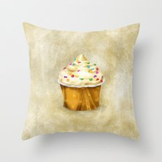 Cream cupcake illustration  Throw Pillow