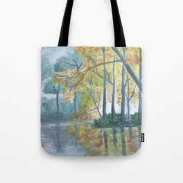 Spring Trees Reflecting Over Lake Tote Bag