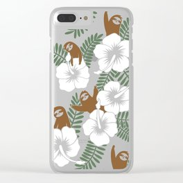 Sloth and Hibiscus Flowers Clear iPhone Case