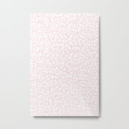 Pink and White Triangles Dizzy All-Over Pattern Metal Print