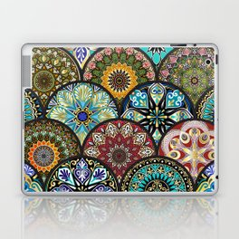 Colorful floral seamless pattern from circles with mandala in patchwork boho chic style Laptop & iPad Skin