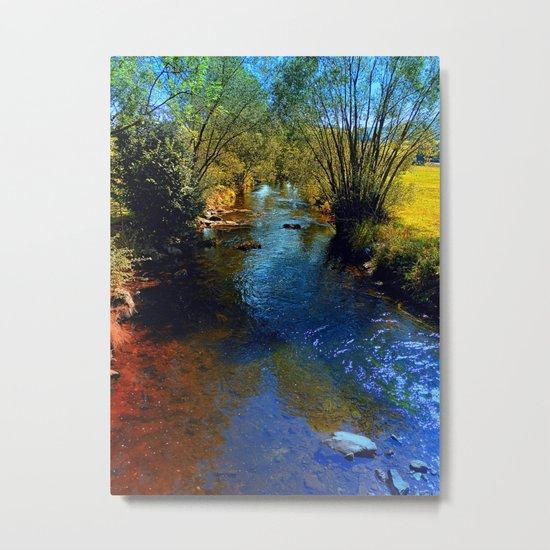 Vibrant river in autumn season Metal Print