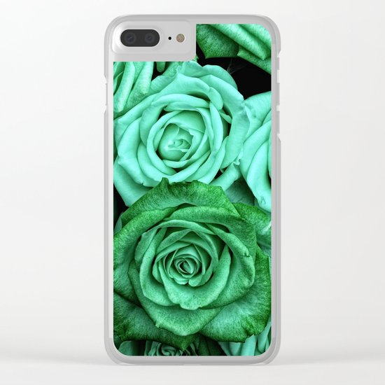 Sea Green Roses Clear iPhone Case