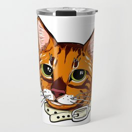 Toyger Cat face Cats orange cute funny gift comic Travel Mug