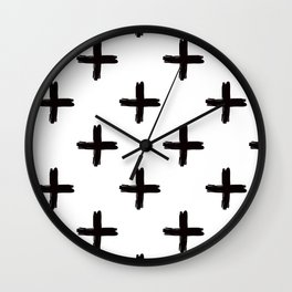 Swiss Cross in Black + White Wall Clock