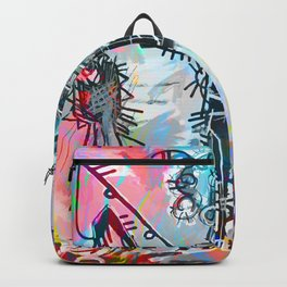 A digitally and roughly vectorised Jean Michel Basquiat Backpack