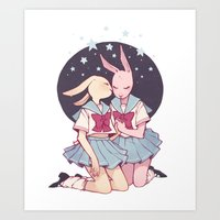 bunnies Art Prints featuring Bunnies by Sophie L