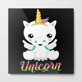 Unicorn Rainbow Metal Print