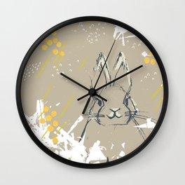 Bunny Portrait M+M Latte by Friztin Wall Clock