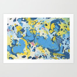 Abstract Blue & Yellow Paint Art Print