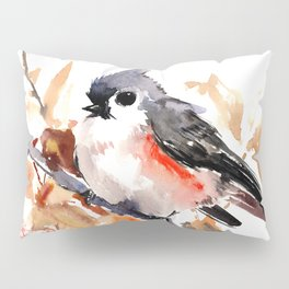 titmouse in the fall, Fall colors, birds and flowers bird art Pillow Sham