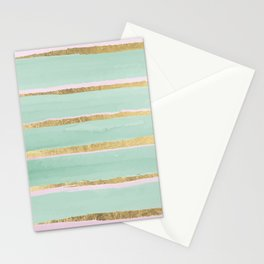 Geometric neo mint pink gold abstract watercolor  Stationery Cards