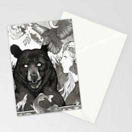 Bear, wolf, pike and falcon Stationery Cards