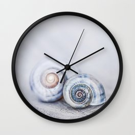 Blue Shells on white washed wood  pastel blues Wall Clock