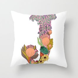 Floral Letter J Throw Pillow
