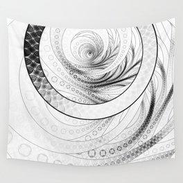 White on Black Circular Fractal of a Jinbaori Samurai Symbol Wall Tapestry