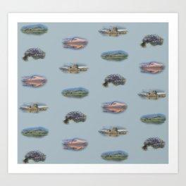 Highland Landmarks in blue Art Print