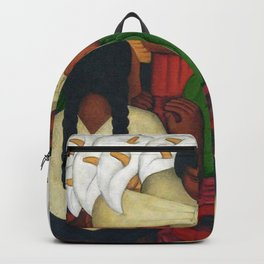 Calla Lilies in white Flower Vendor at the Flower Festival floral portrait painting by Diego Rivera Backpack
