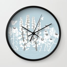 Wildflowers In White on Blue/Grey Background Wall Clock