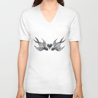 swallow V-neck T-shirts featuring Swallow love by Isobel Woodcock Illustration