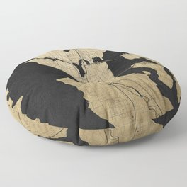 Seattle Black and Gold Street Map Floor Pillow