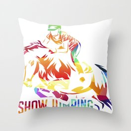 Show Jumping Gift Throw Pillow