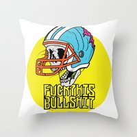nfl Throw Pillows featuring NFL Skull by Bowman Illustration
