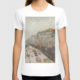 Mardi Gras on Monmartre Boulevard in Paris by Camille Pissarro T-shirt