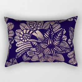 Elegant Rose Gold Floral Drawings on Navy Blue Rectangular Pillow