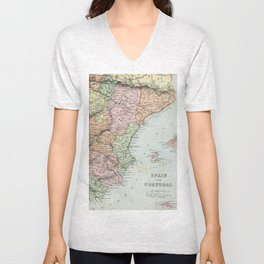 Vintage Map of Spain and Portugal Unisex V-Neck