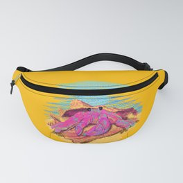 Colorful hermit crab in conch shell - Orange Fanny Pack