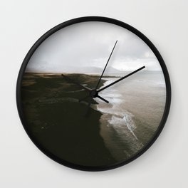 Moody black sand beach in Iceland - Landscape Photography Wall Clock