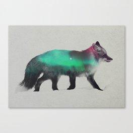 Fox In The Aurora Borealis Canvas Print