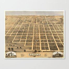 Vintage Pictorial Map of Urbana Illinois (1869) Canvas Print