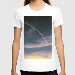aerial trail wake in the sky T-shirt