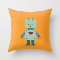 robot Throw Pillows featuring Robot by Milanesa