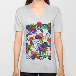 Bohemian Watercolor Flowers Deer Antlers Leaves Unisex V-Neck