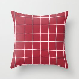 Wonky grid on red ground Throw Pillow