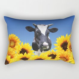 Cow black and white with sunflowers Rectangular Pillow