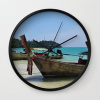 thailand Wall Clocks featuring Thailand Boat by Serena Jones Photography