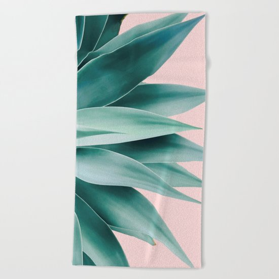 Agave fringe - blush Beach Towel