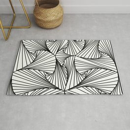 Black And White 3D Line Illusion Drawing Geometric Pattern Rug