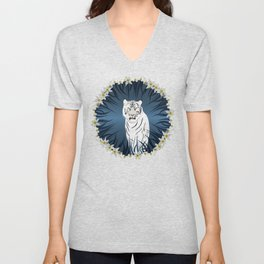 White Tiger with Orchid Grass Wreath Unisex V-Neck