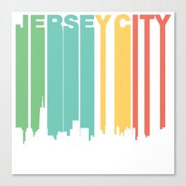 Retro 1970's Style Jersey City New Jersey Skyline Canvas Print