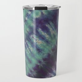 Fractal Tie Dye Turquoise Purple Blue Travel Mug